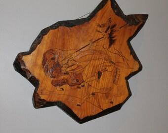 Large Wood Slice, Wood Burn Art, Native American Art, Original Rustic Wall Art, Log Cabin Decor, Wood Wall Hanging, Wood Wall Art, Wood Slab
