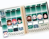Magical Wizards Planner Stickers Weekly Kit (Slytherin) - For use with Erin Condren Vertical Lifeplanner