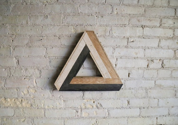 Reclaimed Wood Wall Art, Decor, Lath, Penrose Triangle Small, Geometric Pattern, Escher