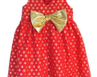 Baby clothes, Baby dress, Infant party dress, Red & gold stars special occasion dress. Size  3-6 months Ready to ship