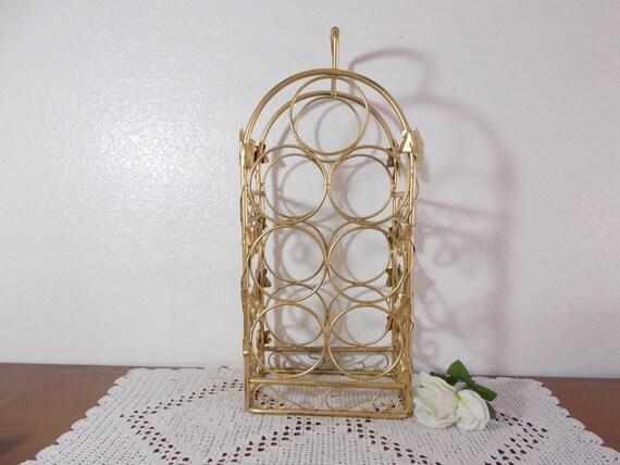 Gold Wine Rack Ornate Metal Leaf Shabby Chic Rustic Distressed