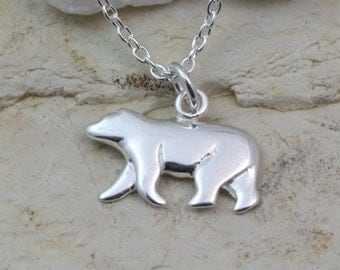 Sterling silver polar bear Necklace, White Polar Bear Pendant choose chain, Sterling silver bear Necklace