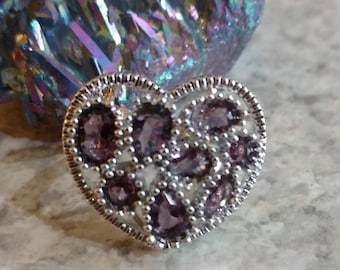 Heart Amethyst Ring Size 6
