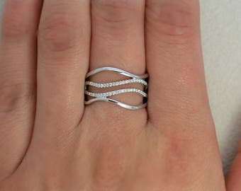 14K White Gold Way Ring with Diamonds