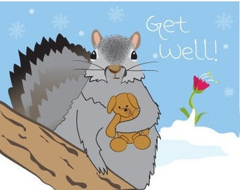 Get well card - Squirrel card hand drawn - Get Well Card - Get well card surgery - Cute Get Well Card