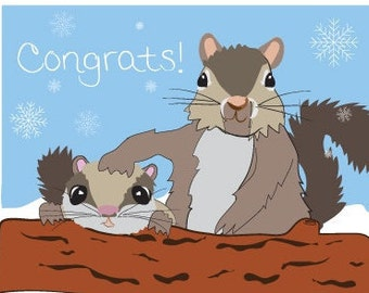 Congrats New Baby - Squirrel card hand drawn - Welcome New Baby - Congrats New Baby - Congratulations pregnancy card