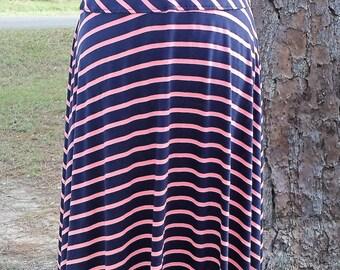 knit skirt, modest skirt, modest clothing, exercise skirt, midi skirt, womens clothing, aline skirt, full skirt, navy skirt