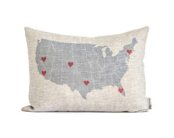 Personalized Map Pillow, Rustic Gift For Mom, Gift For Parents,  Housewarming Gift,