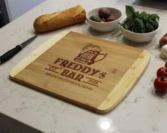 Personalized Cutting Board, Custom Cutting Board, Engraved Cutting Board, Cutting Board, Custom Wedding Gift --CB-BAM-Freddy's Bar