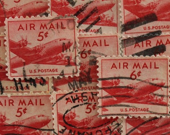 10 USA Plane Postage Stamps // 1947-1949 American Vintage // Airmail // DC-4 Skymaster // Aviation // Red // Scrapbooking // Craft Supplies