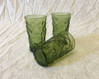 Vintage Anchor Hocking Milano Lido Green Juice Glasses, Set of 3