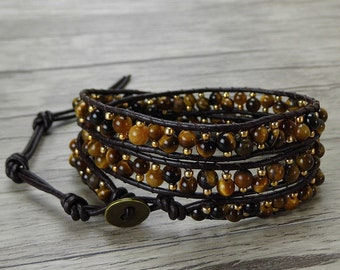3rows waps bracelet Agate Beads bracelet Leather Waps bracelet Tiger eyes beads bracelet Boho Seed beads Waps Bracelet Jewelry SL-0397