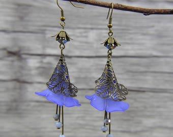 Navy Flower Earrings long Earrings Dangle Earrings Drop Earrings Bead Earrings Vintage Flower Earrings Statement Earrings ED-042