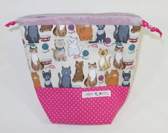 Sock Project Bag // Emily Sack // Purrfectly Behaved Kitties