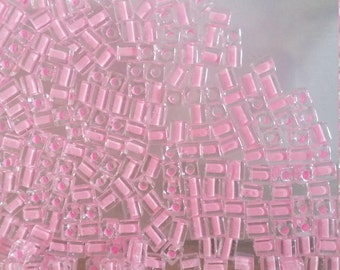 20gs 4mm Miyuki  Cube Beads  - Col No 207 - Colour Lined Pink