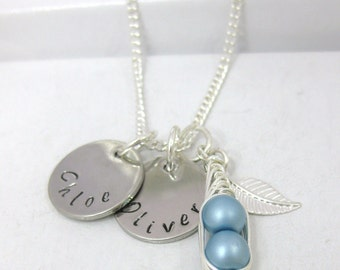Personalised Peas in a Pod 1, 2 or 3 Names Necklace 6mm Blue, Pink or White Peas