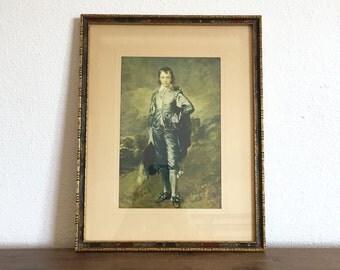 Vintage Blue Boy Picture; Thomas Gainsborough; Framed Blue Boy Print; Blue Boy Portrait