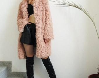 NEW Blush Coat / Dusky Pink Fuzzy Coat / Long Sleeve Fur Coat  by FabraModaStudio / V800