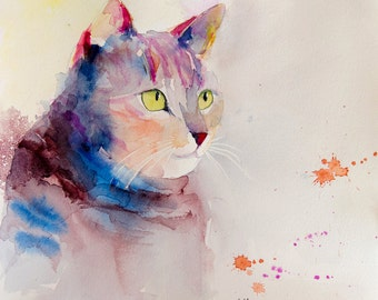 "Original painting of a coloured cat - original watercolor of a pink and blue cat - feline art - pet art - cat's head painting- 11.8"" x 11.8"""