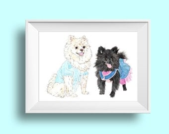 Custom DIGITAL Double Pet Portrait. Custom portrait. Pet Portrait. Dog portrait. Printable art. Gift. wall art-dog-gift