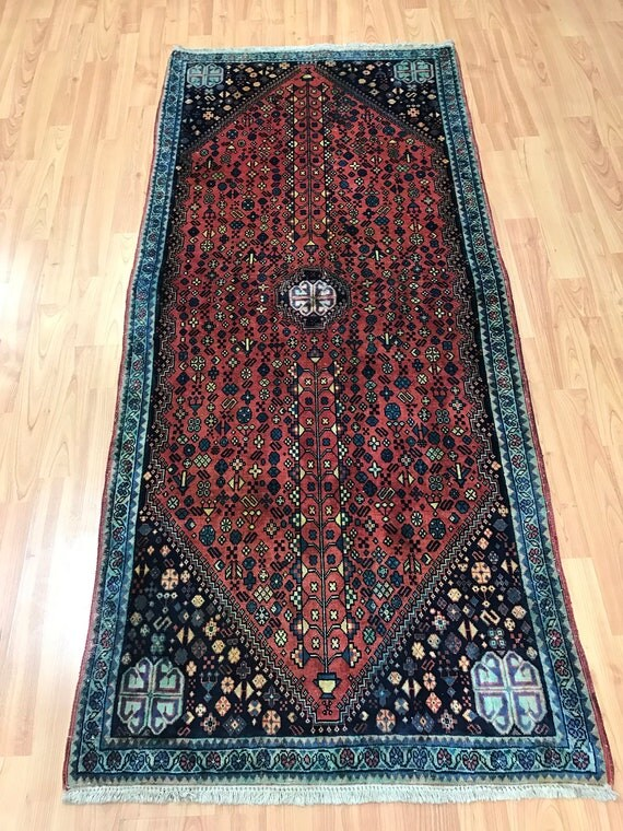 "2'4"" x 5'4"" Persian Abadeh Oriental Rug - 1960s - Hand Made - 100% Wool"