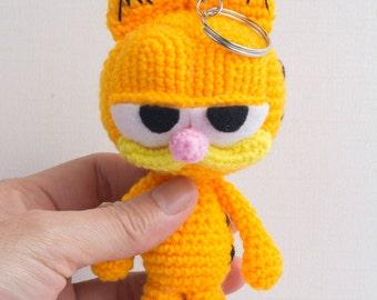 Garfield crochet key chain, garfield characters, backpack zipper pull, Birthday gift, Christmas gift