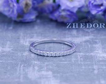 Wedding Band Solid White Gold Half Eternity With Simulated Diamond  0.25 CT Set In 14K real White Gold, Stackable Band