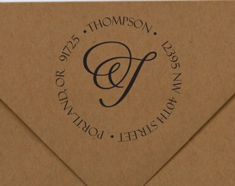 Initial Return Address Stamp, Initial Rubber Stamp, Elegant Initial Stamp, Round Rubber Stamp