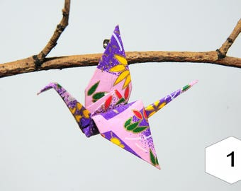 "Pins in origami ""Cranes exotic flowers yellow Violet"""