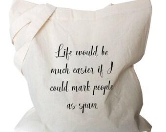 Funny Canvas Tote Bag,  Canvas Cotton Tote Bag, Cotton Shopping Bag
