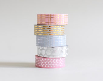 Metallic Washi tape, gold masking tape, confetti washi tape, silver masking tape