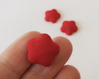 3 Puffy Star Cabochons / Red Cabochons / 20 mm Cabochons / Bright Red Buttons / CA21A