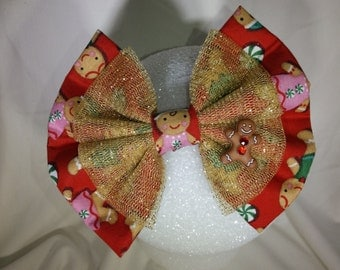 Gingerbread man Christmas hair bow/red