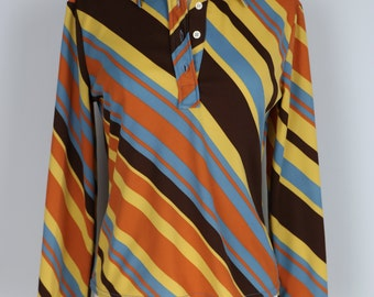 1970s Shirt - Diagonal Stripe Vintage Top - Long Sleeve - Retro Hipster - Groovy Bold Orange Brown Blue Yellow - Size Small Medium