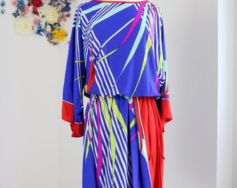 1980s Dress - Bold Graphic Print Dress - Long Drop Angel Wing Sleeve - Drawstring Waist - Blue Red Green Purple - Size Large/Extra Large
