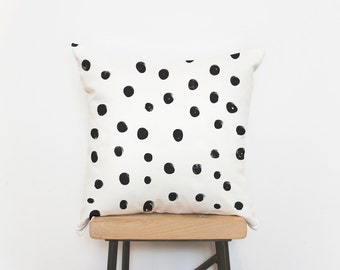 Scandinavian polka dots cushion cover, housewarming gift - cushions, throw pillows, white pillow, black and white, decorative pillow cover
