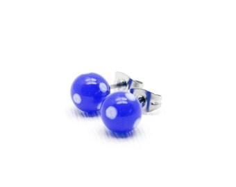Minimal Ear Studs - Blue Stud Earrings - Surgical Steel Stud Earrings - Tiny Stud Earrings - Tiny Post Earrings - Round Studs - Ear Studs