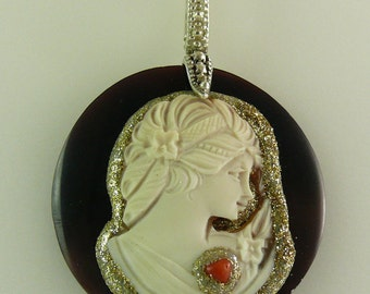 Cameo with Coral and Palladium Pendant with Sterling Silver Setting