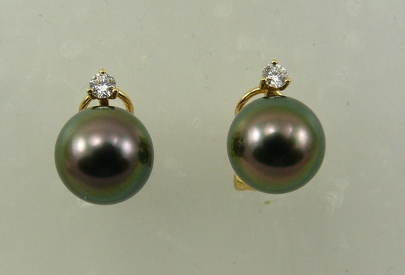 Tahitian Black Pearl Earrings 14k Yellow Gold & Diamonds 0.20ct