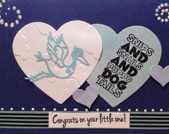 Snips and snails baby boy card, handmade, 5x7, stork