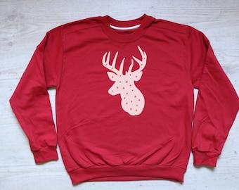 Christmas sweatshirt Snowy Reindeer sweater slouchy sweatshirt vintage womens mens sweatshirt Xmas jumper Christmas winter sweater red