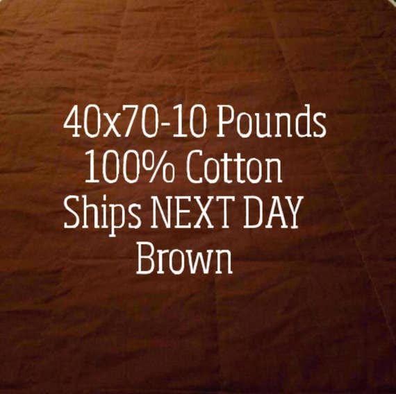 Weighted Blanket, 10 Pound, Brown, 40x70, READY TO SHIP, Twin Size, Adult Weighted Blanket, Next Business Day To Ship