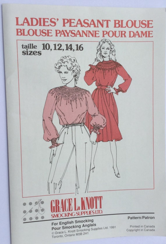 Ladies Peasant Blouse pattern, vintage, smocking, gathered, loose fitting