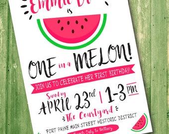 One in a Melon Invitation -Watermelon Invitation -Watermelon -First Birthday -Watermelon Theme -One in a Melon Theme -Pink and Green -Melon