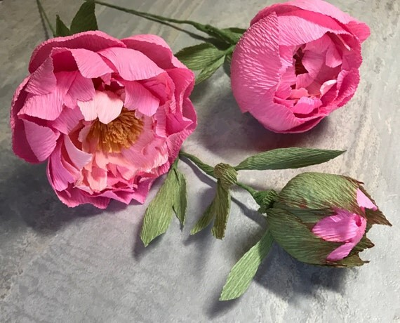 3 Pc Pink Crepe Paper Peonies -Detailed Paper Flowers - BrideBouquet - Flower Arrangement - Handmade | Gifts for Her  | Elegant Event Decor