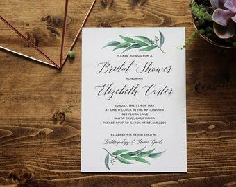 Greenery Bridal Shower Invitation | Eucalyptus Watercolor | Printable Invitation