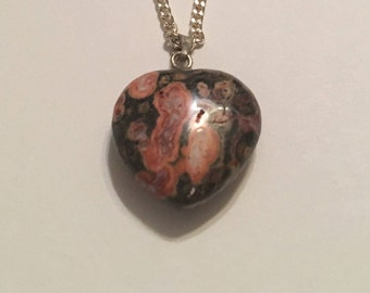 Orbicular Jasper Heart Sterling Silver Pendant Necklace