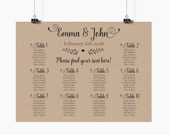 Rustic Wedding Seating Plan Sign DIY, Customized Calligraphy Table chart, Kraft wedding sign, find your seat, printable PDF