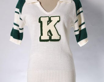 "Vintage Nike green / cream knit top in letter ""K"""