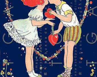 Little Girl & Boy Kissing ! Rare Fab Art Deco Phillis Cooper Postcard. Flapper Era Love Token. Digital Valentine Download.